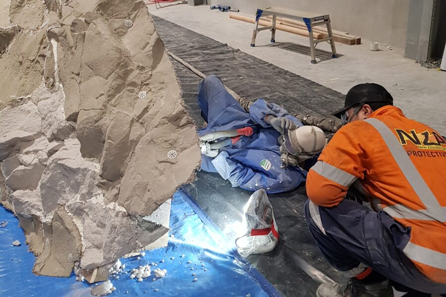 Reinforcing Fake Rock Structure with Polyurethane Foam